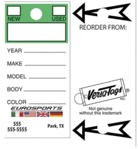Internal Use Tags & Dealer Repair Tags